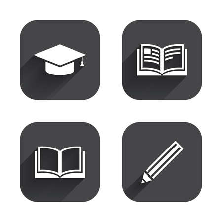 higher education: Pencil and open book icons. Graduation cap symbol. Higher education learn signs. Square flat buttons with long shadow.
