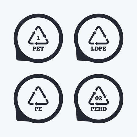 PET, PE-LD en HD-pe iconen. High-density polyethyleen tereftalaat teken. Recycling symbool. Flat icoon pointers.