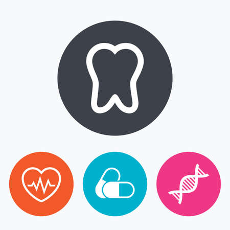 deoxyribonucleic acid: Maternity icons. Pills, tooth, DNA and heart cardiogram signs. Heartbeat symbol. Deoxyribonucleic acid. Dental care. Circle flat buttons with icon.
