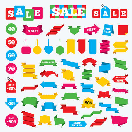 50 to 60: Web stickers, banners and labels. Sale discount icons. Special offer price signs. 40, 50, 60 and 70 percent off reduction symbols. Price tags set.