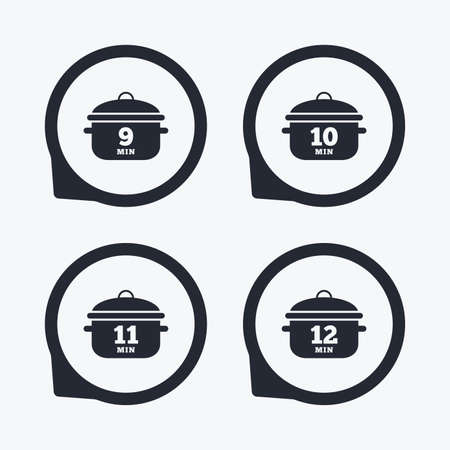 boil: Cooking pan icons. Boil 9, 10, 11 and 12 minutes signs. Stew food symbol. Flat icon pointers. Illustration