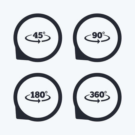 Angle 45-360 degrees icons. Geometry math signs symbols. Full complete rotation arrow. Flat icon pointers. Illustration