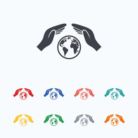 world peace: Worldwide insurance sign icon. Hands protect cover symbol. Travel insurance. World peace. Save planet. Colored flat icons on white background. Illustration