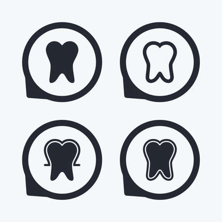 enamel: Tooth enamel protection icons. Dental care signs. Healthy teeth symbols. Flat icon pointers.