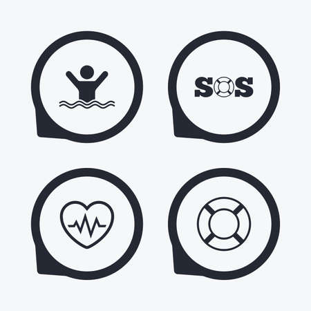 drowns: SOS lifebuoy icon. Heartbeat cardiogram symbol. Swimming sign. Man drowns. Flat icon pointers.