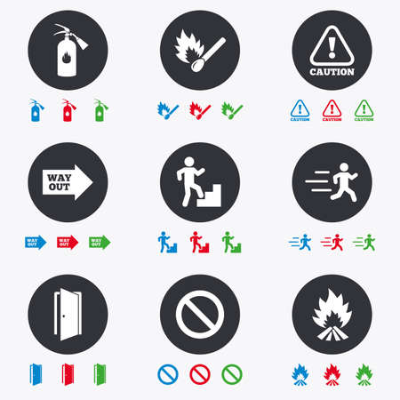 safety circle: Fire safety, emergency icons. Fire extinguisher, exit and attention signs. Caution, water drop and way out symbols. Flat circle buttons with icons.