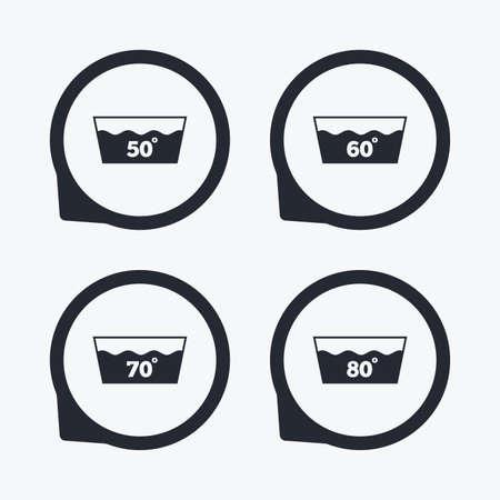 washhouse: Wash icons. Machine washable at 50, 60, 70 and 80 degrees symbols. Laundry washhouse signs. Flat icon pointers. Illustration