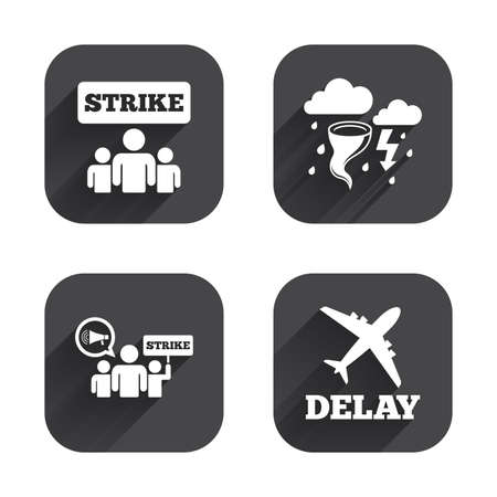 shadow people: Strike icon. Storm bad weather and group of people signs. Delayed flight symbol. Square flat buttons with long shadow.