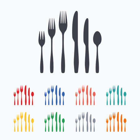 dessert fork: Dessert fork, knife, teaspoon sign icon. Cutlery collection set symbol. Colored flat icons on white background.