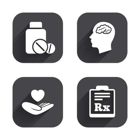 rx: Medicine icons. Medical tablets bottle, head with brain, prescription Rx signs. Pharmacy or medicine symbol. Hand holds heart. Square flat buttons with long shadow.