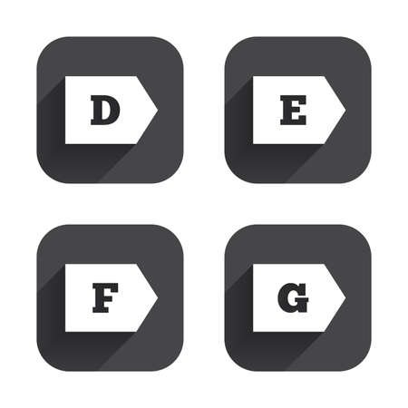 d mark: Energy efficiency class icons. Energy consumption sign symbols. Class D, E, F and G. Square flat buttons with long shadow.