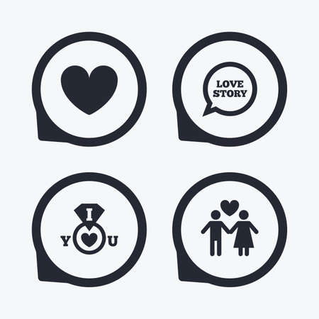 sex positions: Valentine day love icons. I love you ring symbol. Couple lovers sign. Love story speech bubble. Flat icon pointers.