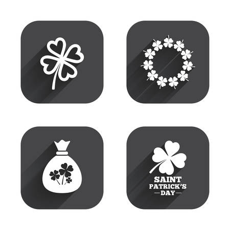 clover buttons: Saint Patrick day icons. Money bag with clover sign. Wreath of quatrefoil clovers. Symbol of good luck. Square flat buttons with long shadow. Illustration