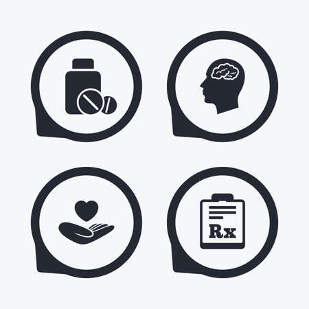 rx: Medicine icons. Medical tablets bottle, head with brain, prescription Rx signs. Pharmacy or medicine symbol. Hand holds heart. Flat icon pointers.