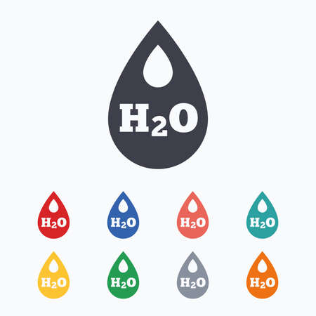 h2o: H2O Water drop sign icon. Tear symbol. Colored flat icons on white background. Illustration