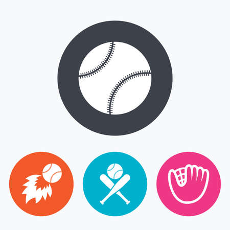 crosswise: Baseball sport icons. Ball with glove and two crosswise bats signs. Fireball symbol. Circle flat buttons with icon.
