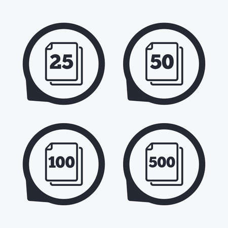 quantity: In pack sheets icons. Quantity per package symbols. 25, 50, 100 and 500 paper units in the pack signs. Flat icon pointers.
