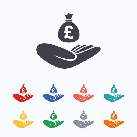 hand with a bag of money: Money insurance sign. Hand holds cash bag in Pounds symbol. Colored flat icons on white background.