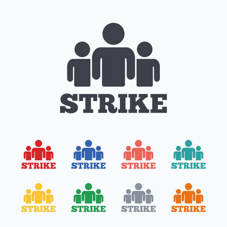 activists: Strike sign icon. Group of people symbol. Industrial action. People protest. Colored flat icons on white background. Illustration