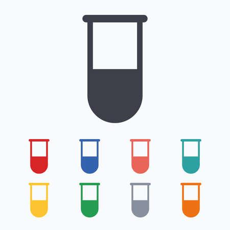 test tube: Medical test tube sign icon. Laboratory equipment symbol. Colored flat icons on white background.
