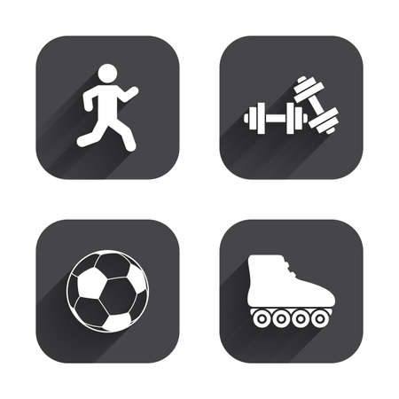 rollerblades: Football ball, Roller skates, Running icons. Fitness sport symbols. Gym workout equipment. Square flat buttons with long shadow. Illustration