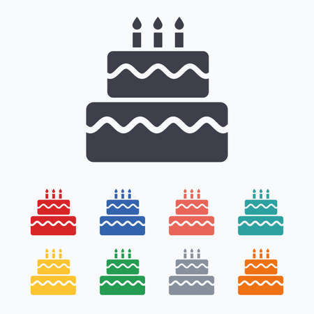 cake background: Birthday cake sign icon. Cake with burning candles symbol. Colored flat icons on white background.