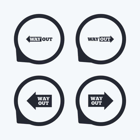 way out: Way out icons. Left and right arrows symbols. Direction signs in the subway. Flat icon pointers.