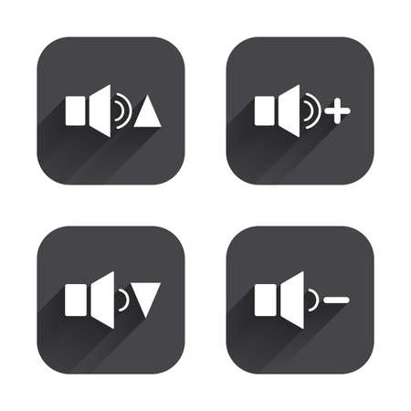 quieter: Player control icons. Sound louder and quieter signs. Dynamic symbol. Square flat buttons with long shadow. Illustration