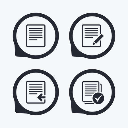 checkbox: File document icons. Upload file symbol. Edit content with pencil sign. Select file with checkbox. Flat icon pointers.