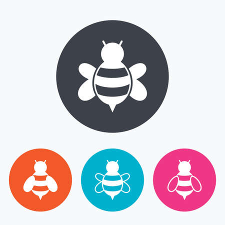 sting: Honey bees icons. Bumblebees symbols. Flying insects with sting signs. Circle flat buttons with icon.