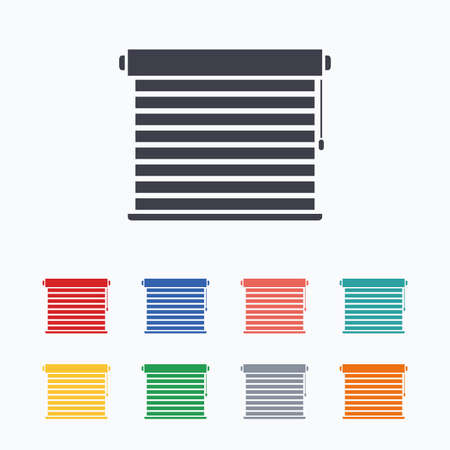 jalousie: Louvers sign icon. Window blinds or jalousie symbol. Colored flat icons on white background.