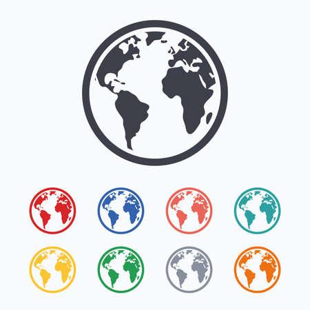 geography background: Globe sign icon. World map geography symbol. Colored flat icons on white background. Illustration