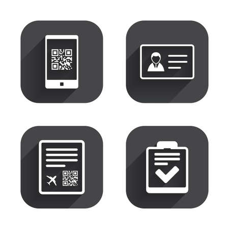 boarding card: QR scan code in smartphone icon. Boarding pass flight sign. ID card badge symbol. Check or tick sign. Square flat buttons with long shadow.