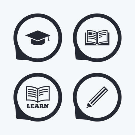 higher: Pencil and open book icons. Graduation cap symbol. Higher education learn signs. Flat icon pointers. Illustration