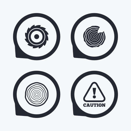 wood cross section: Wood and saw circular wheel icons. Attention caution symbol. Sawmill or woodworking factory signs. Flat icon pointers. Illustration