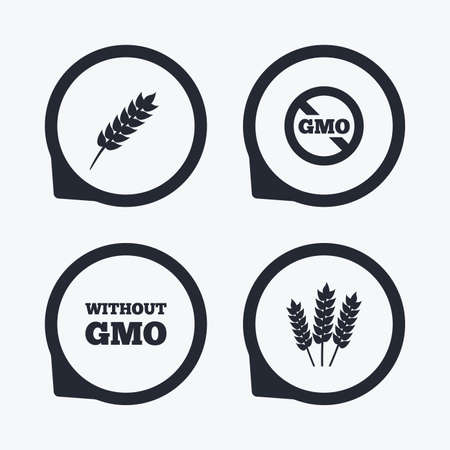 genetically: Agricultural icons. Gluten free or No gluten signs. Without Genetically modified food symbols. Flat icon pointers.