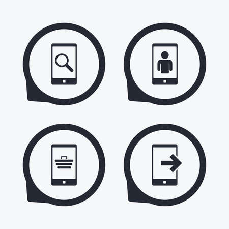 Phone icons. Smartphone video call sign. Search, online shopping symbols. Outcoming call. Flat icon pointers.
