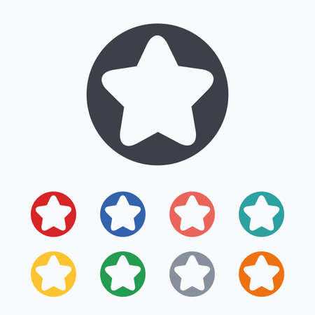 favorite colour: Star sign icon. Favorite button. Navigation symbol. Colored flat icons on white background.