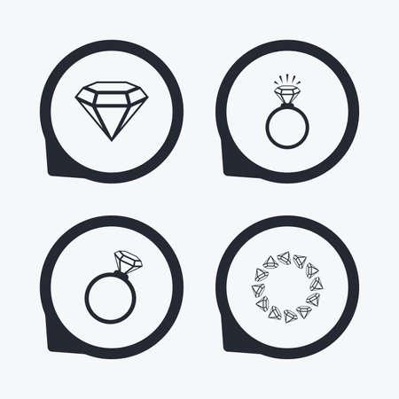 position d amour: Bagues icônes. Bijoux avec des signes éclat de diamant. Mariage ou fiançailles symboles. Flat icon pointeurs.