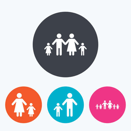 large family: Large family with children icon. Parents and kids symbols. One-parent family signs. Mother and father divorce. Circle flat buttons with icon. Illustration