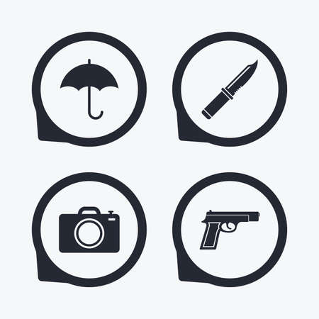 edged: Gun weapon icon.Knife, umbrella and photo camera signs. Edged hunting equipment. Prohibition objects. Flat icon pointers.