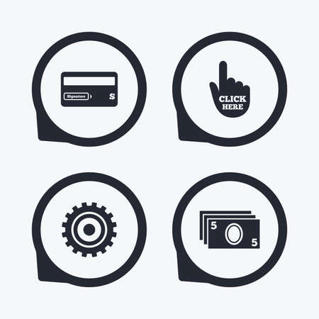 bank withdrawal: ATM cash machine withdrawal icons. Insert bank card, click here and check PIN, processing and get cash symbols. Flat icon pointers.