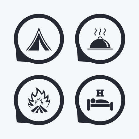 breakfast in bed: Hot food, sleep, camping tent and fire icons. Hotel or bed and breakfast. Road signs. Flat icon pointers.