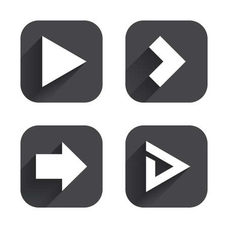 arrowhead: Arrow icons. Next navigation arrowhead signs. Direction symbols. Square flat buttons with long shadow.