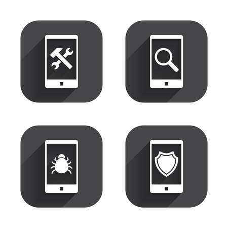 screw key: Smartphone icons. Shield protection, repair, software bug signs. Search in phone. Hammer with wrench service symbol. Square flat buttons with long shadow.