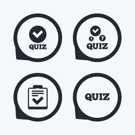 feedback form: Quiz icons. Checklist with check mark symbol. Survey poll or questionnaire feedback form sign. Flat icon pointers.