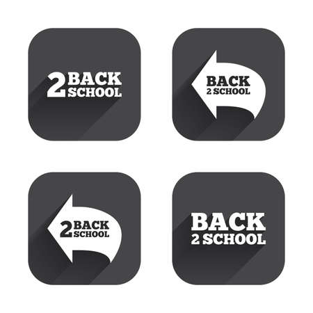 after school: Back to school icons. Studies after the holidays signs symbols. Square flat buttons with long shadow.