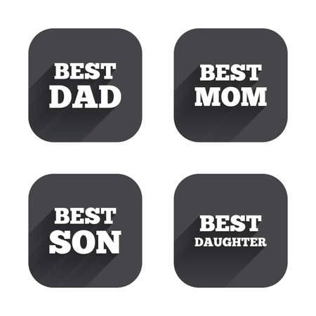 dad and son: Best mom and dad, son and daughter icons. Award symbols. Square flat buttons with long shadow.