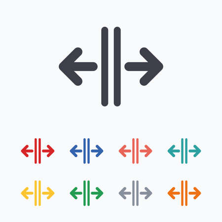 automatic doors: Open the door sign icon. Control in the elevator symbol. Colored flat icons on white background. Illustration