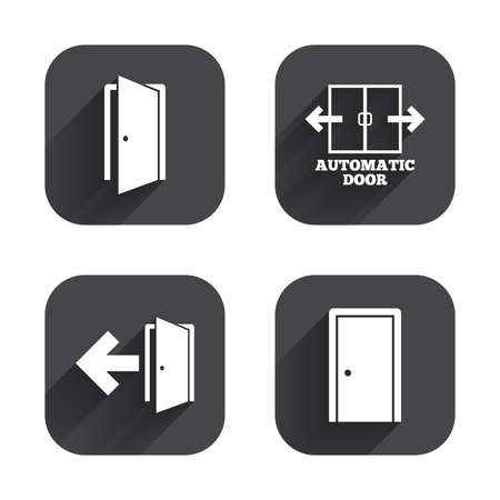 emergency exit label: Automatic door icon. Emergency exit with arrow symbols. Fire exit signs. Square flat buttons with long shadow. Illustration